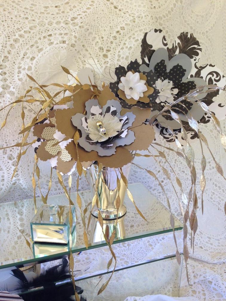 Scrapbook Paper Flower Arrangements